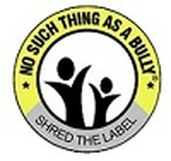 No Such Thing as A Bully Logo. Yellow ring surrounding two celebrating stick figures.