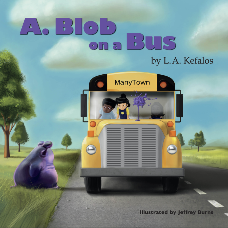 A. Blob on a Bus cover. A. Blob waits in the grass to be picked up by the schoolbus.