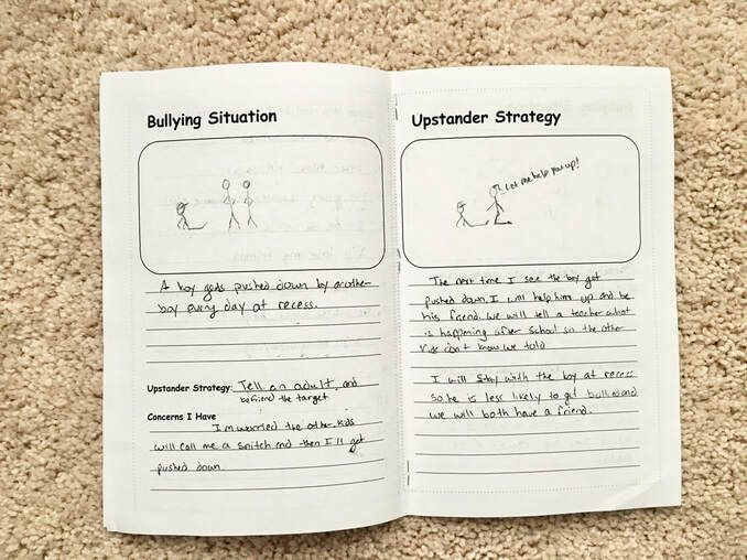 Left hand page of open upstander handbook is labeled 'Bullying Situation'. There is a box at the top to draw a bullying situation. Underneath are lines to describe the scenario. There is a space to write the upstander strategy to use and list concerns about what might happen. The right hand page is titled 'Upstander Strstegy'. There is a box at the top to draw a picture of the strategy. There are blank lines underneath to describe the strategy and concerns.